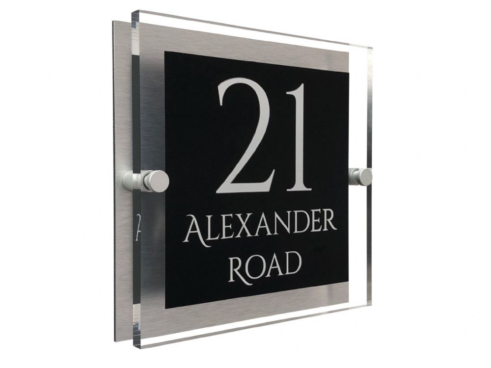 Block Shape - Clear Acrylic House Sign - Black Colour with White text in Font  1